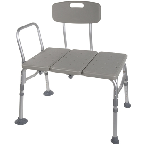 McKesson Plastic Transfer Bench with Adjustable Backrest, TOOL FREE Transfer Bench with Back Non-slip Seat, White