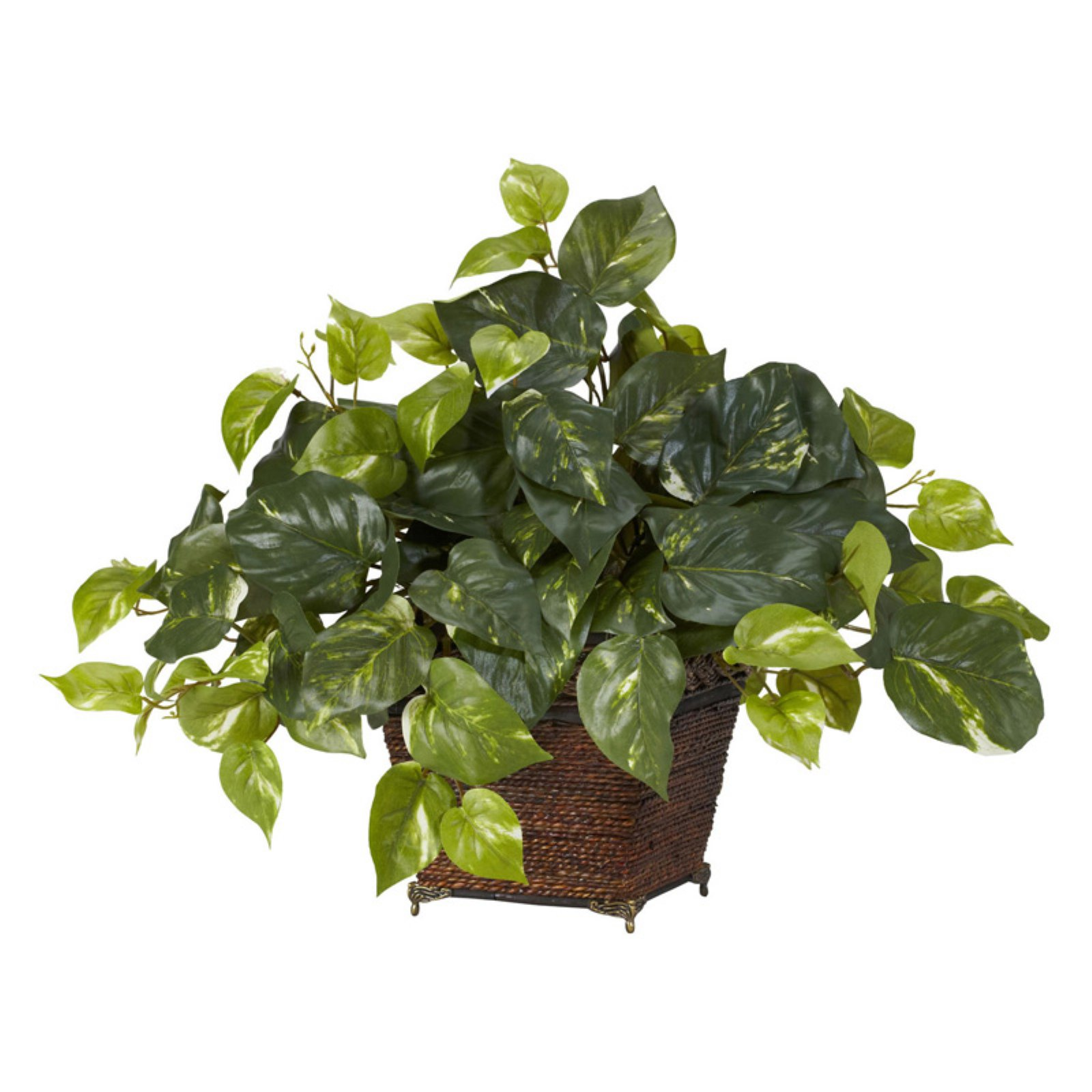 Nearly Natural Pothos with Coiled Rope Planter Silk Plant