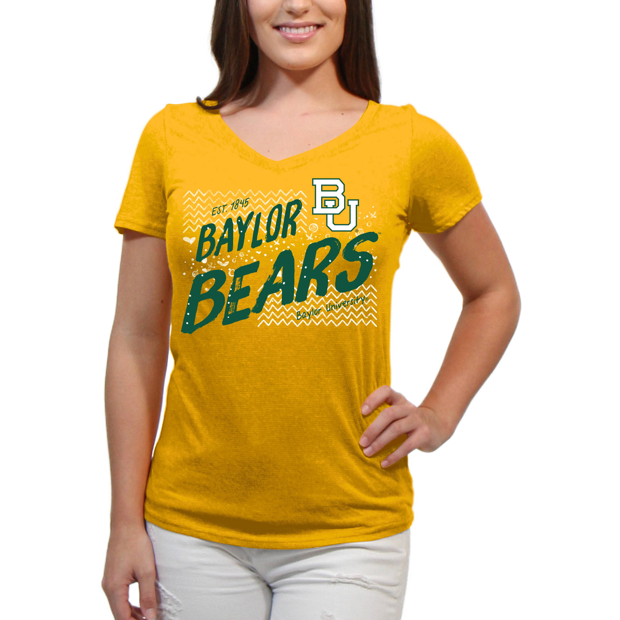 Baylor Bears Scatter Doodle Women'S/Juniors Team Short Sleeve V Neck Tee Shirt