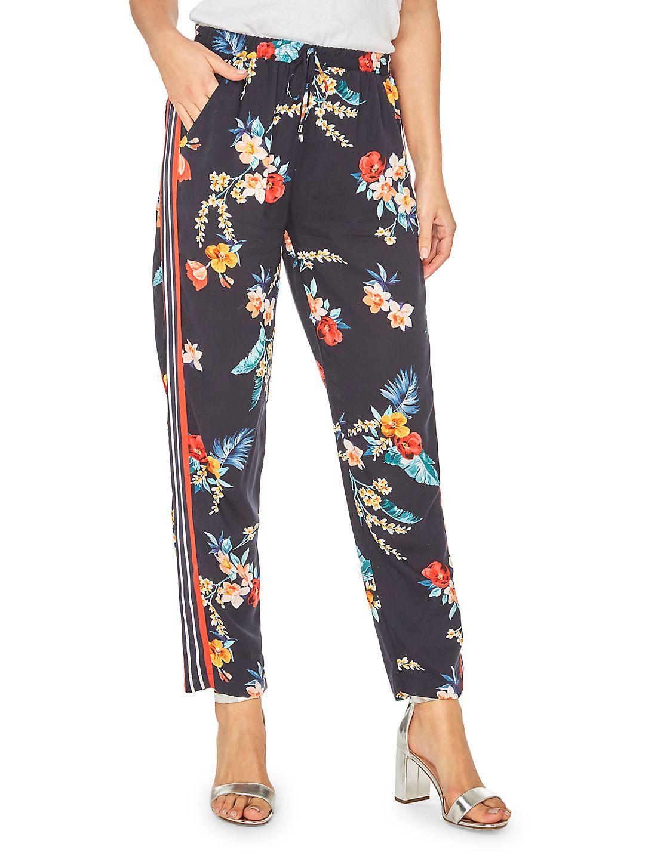 Tropical-Print Side Striped Jogger Pants