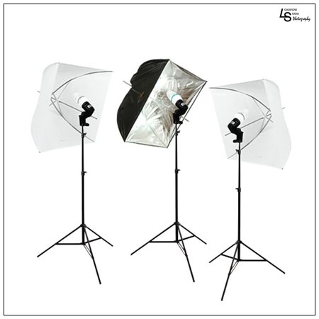Set of Three Square Softbox Umbrella Continuous Light Stand Lighting Kit for Photo and Video Photography by Loadstone Studio WMLS0980