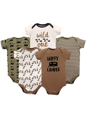 Luvable Friends Short Sleeve Bodysuits, 5pk (Baby Boys)