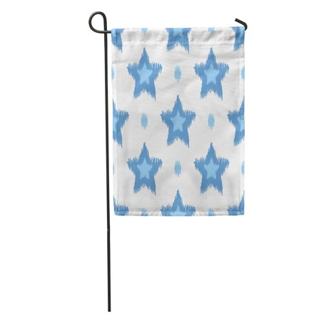 LADDKE Abstract Blue Ikat Pattern Star and Dots Scribble Accessory Beautiful Garden Flag Decorative Flag House Banner 12x18 - Scribble Stars