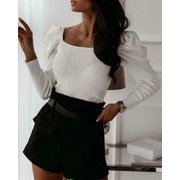 Women Fashion Puff Shoulder Long Sleeve Square Neck See Crop Top T-Shirt Blouse Brown L