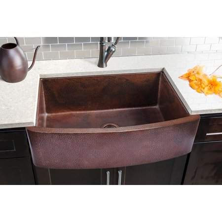 Copper Curved Front Single Bowl Farmhouse Sink (Copper Farmhouse Sink Double Bowl)