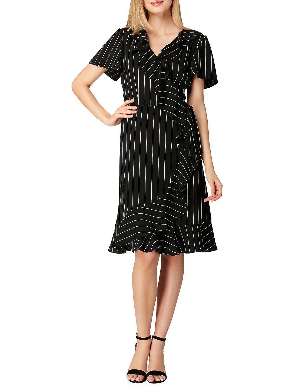 Petite Ruffled Stripe Crepe Dress
