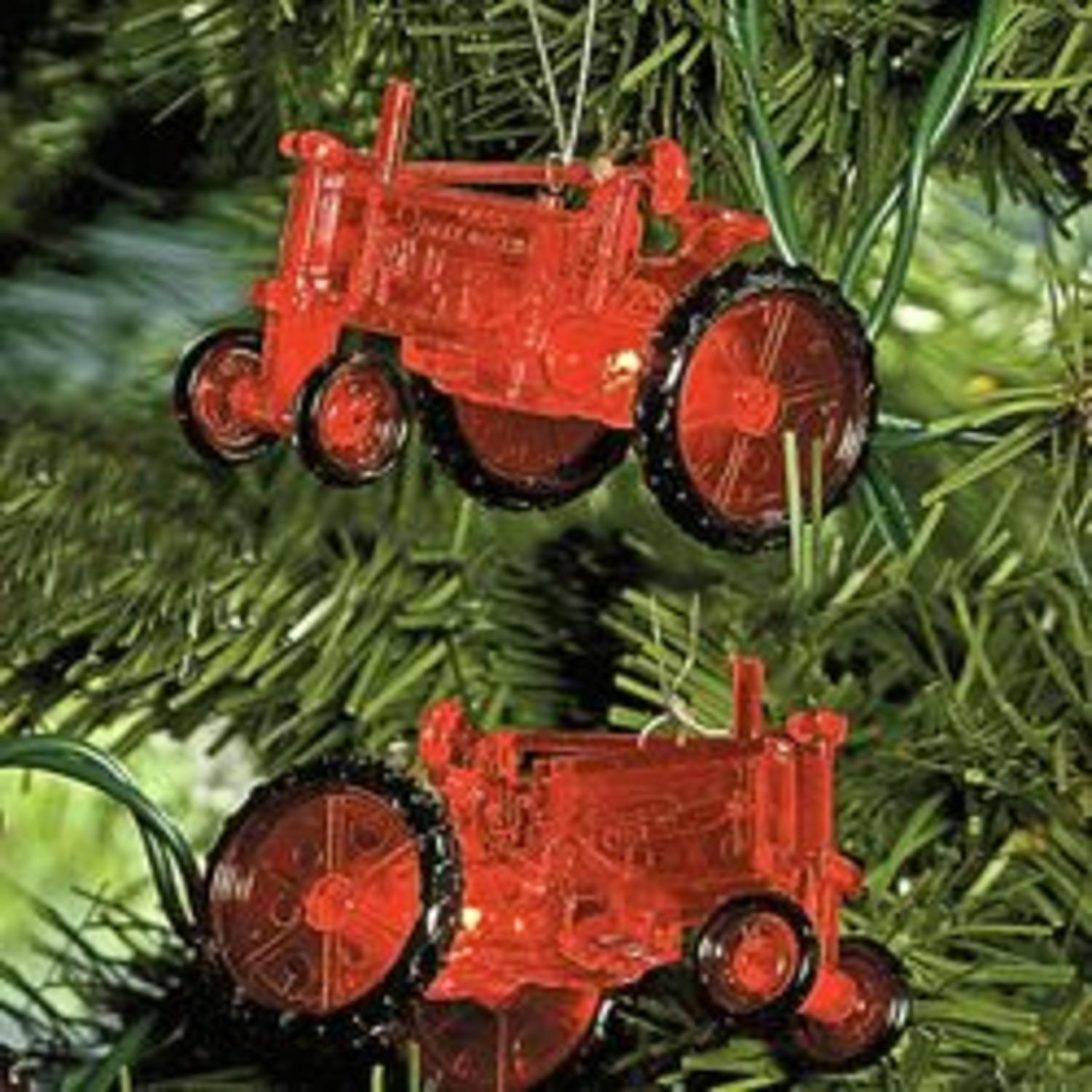 Set of 10 Country Heritage Red Farm Tractor Christmas Lights - Green Wire
