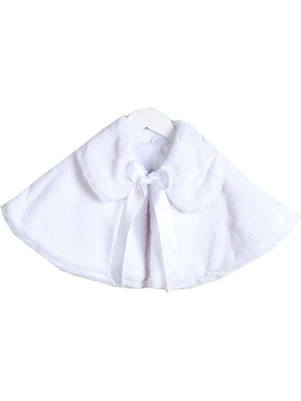 Baby Girls White Satin Tie Collared Elegant Faux Fur Cape 6-24M