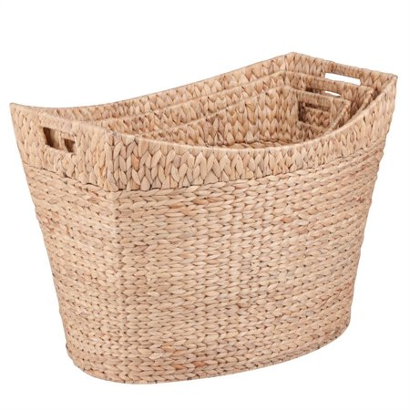 Hyacinth Pack - Honey Can Do Woven Water Hyacinth Baskets with Handles, Brown (Set of 3)