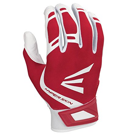 Zf7 VRS Hyperskin Fastpitch Batting Gloves, White/Red, Large, Flexible Hyperskin Lycra back of hand with reinforced silicone By Easton from