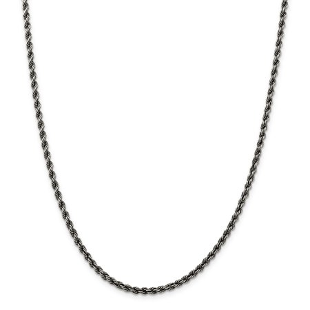 925 Sterling Silver Ruthenium 3mm Rope Chain 20 Inch - image 5 de 5