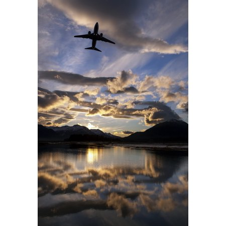 Alaska Airlines jet takes off from Juneau International airport at dawn Juneau Alaska Canvas Art - John Hyde Design Pics (24 x 38)