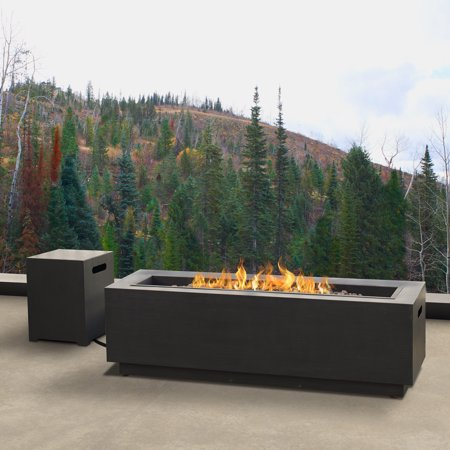 Lanesboro Rectangle Propane Fire Table in Gray with Natural Gas Conversion Kit by Real