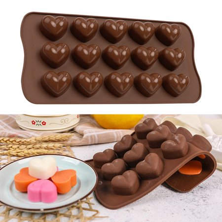 Electronicheart 15 Grids Chocolate Heart Shaped Mold Ice Cube Fondant Making Mould Tray Home Bakery Baking Tool - image 8 de 8