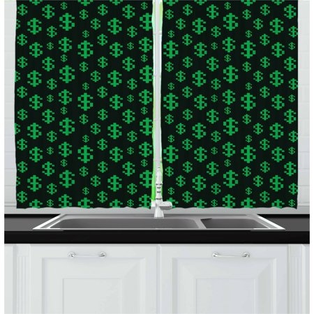 Money Curtains 2 Panels Set, Pixel Art Inspirations in Eighties Style Dollar Sign Banking Business, Window Drapes for Living Room Bedroom, 55W X 39L Inches, Dark Green Lime Green, by Ambesonne ()