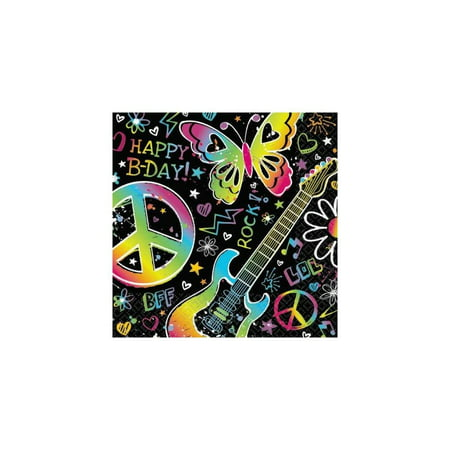 Neon Doodle Party Supplies (Amscan Groovy Neon Doodle Birthday Party Beverage Napkins Tableware (16 Pack), 5