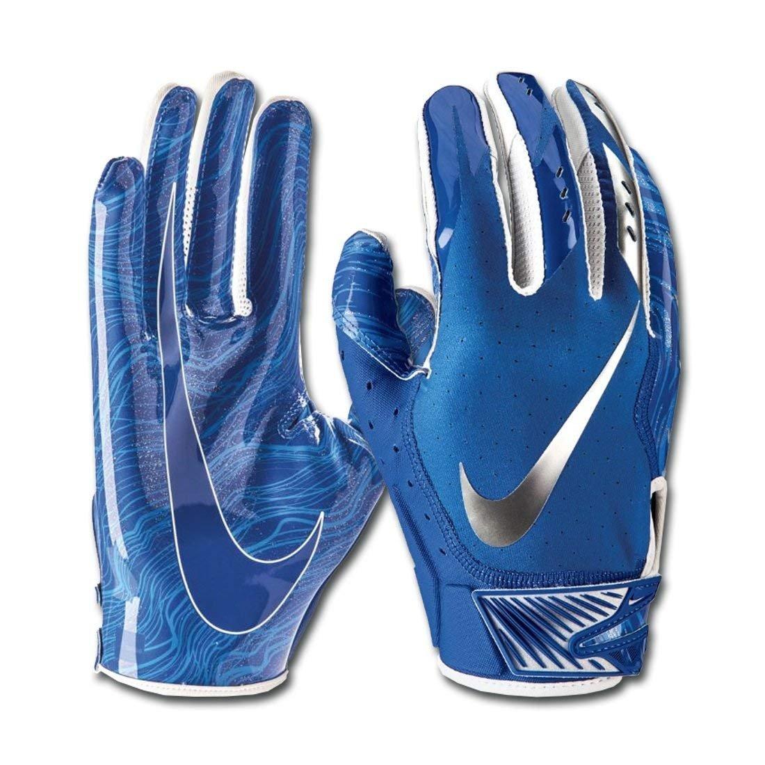 Men's Nike Vapor Jet 5.0 Football Gloves Game Royal/Chrome Size Large
