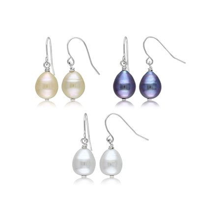 Set of 3 Freshwater Multicolor Cultured Pearl 9-10mm Drop Earrings in Sterling Silver Cultured Freshwater Pearl Earring Set