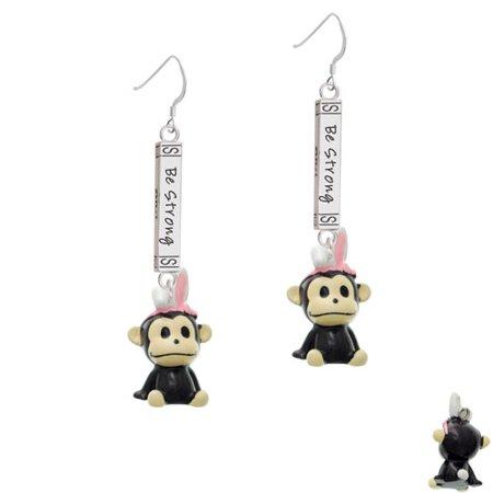 Resin Monkey with Bunny Ears - Joshua 1:9 Bar French Earring - Bunny French