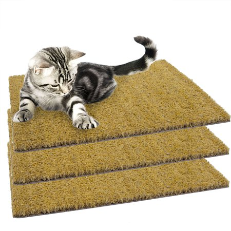 3Pk Set Of 18   X 13   Natural Recessed Cocoa Coir Cat Scratching Mats Refill Pads