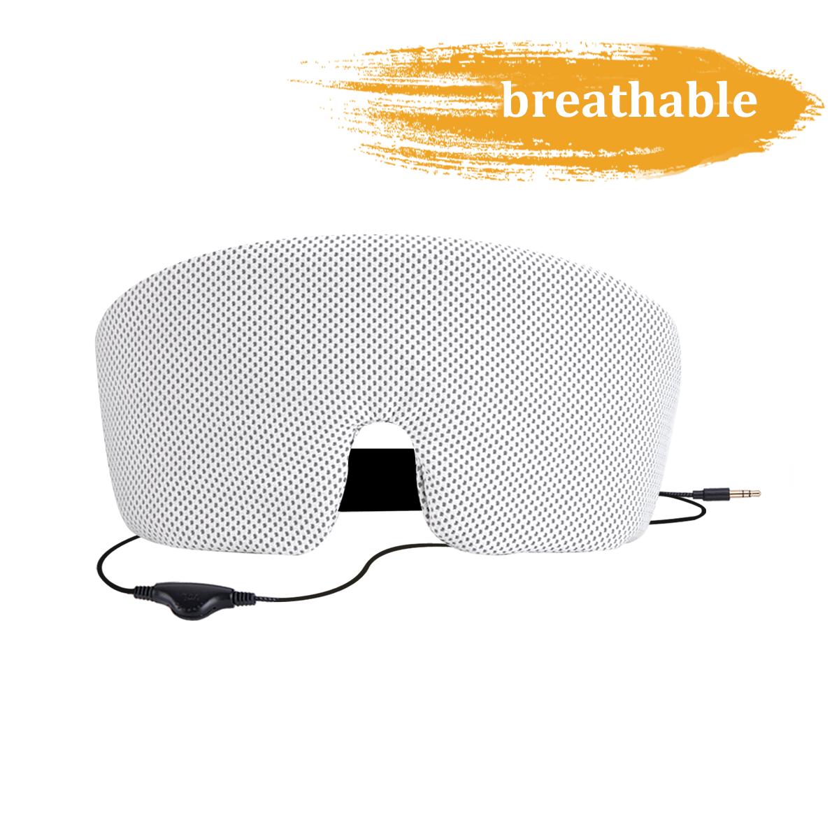 AGPTEK SleepPhones Soft Comfortable Wired Sleep Headphones Eye Mask Built-in HD Audio Speaker,suit for sleeping, Black