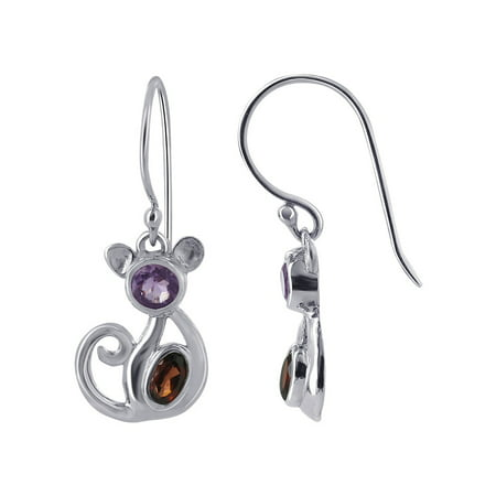 Gem Avenue 925 Sterling Silver Ruby Color and Violet CZ Cat Design French Hook Drop Earrings