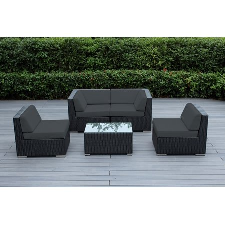 Ohana 5 Piece Outdoor Wicker Patio Furniture Sectional Conversation Set - Black Wicker ()