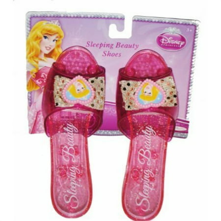 Disney Princess Collection Sleeping Beauty Shoes Slippers Clear Pink with Sparkles
