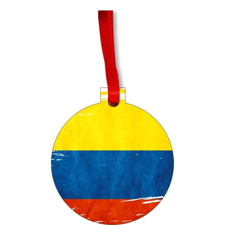 Flag Colombia - Colombian Flag Round Shaped Flat Hardboard Christmas Ornament Tree Decoration - Unique Modern Novelty Tree Décor Favors