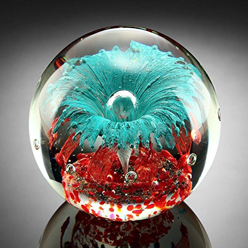 Paperweight Glass Sphere Teal Explosion Fireworks of Red and Aqua Burst 5 Inch