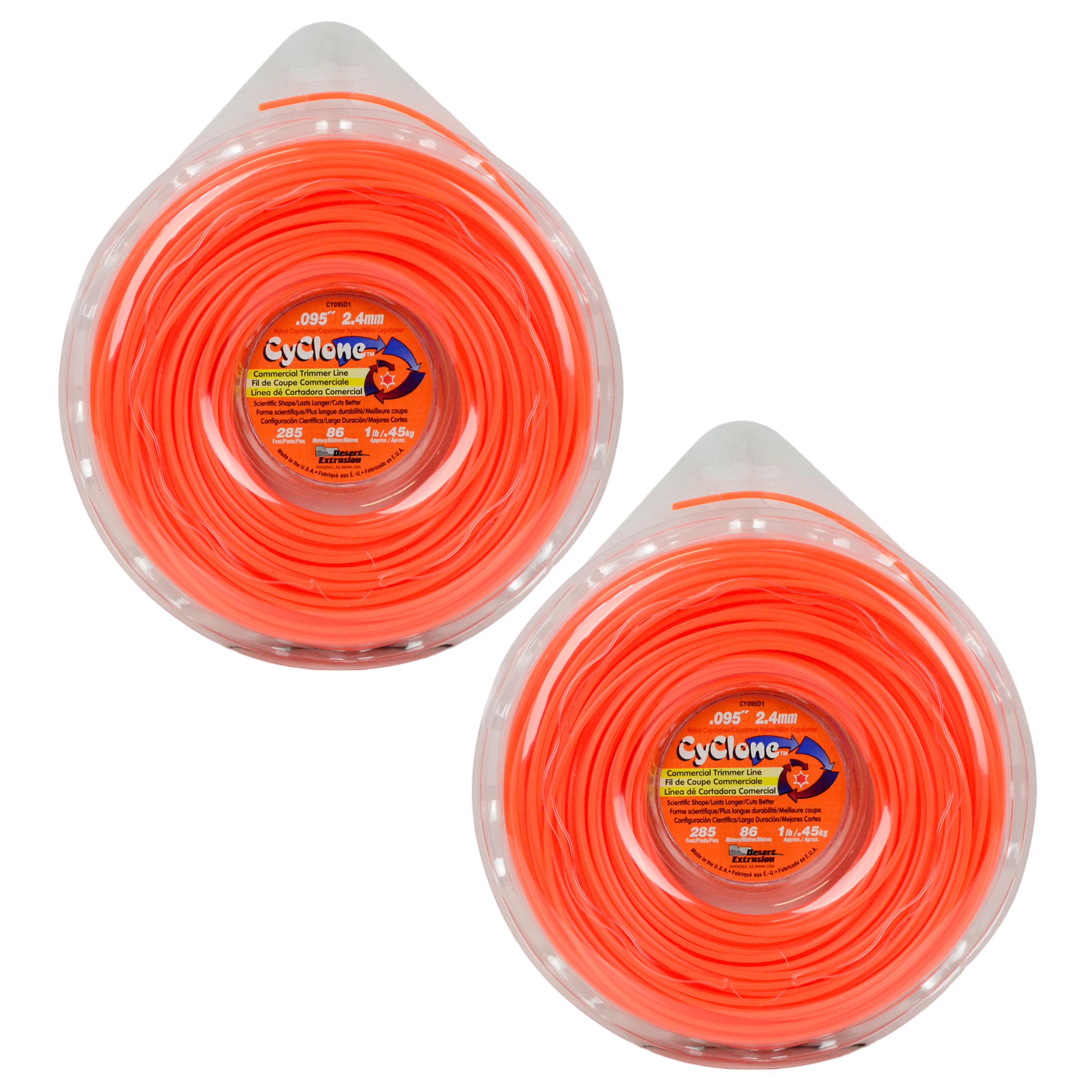 "Cyclone CY095D1 0.095"" x 285' Commercial String Trimmer Line Orange (2-Pack), Made in the USA"