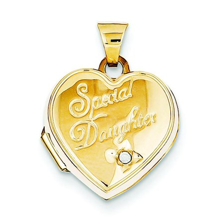 14K Gold 15mm Heart Diamond Special Daughter Jewelry Pendant Charm Locket