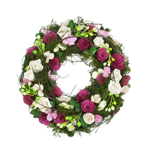 "14"" Purple and White Flowers and Green Leaves, Berries and Twig Artificial Spring Floral Wreath"