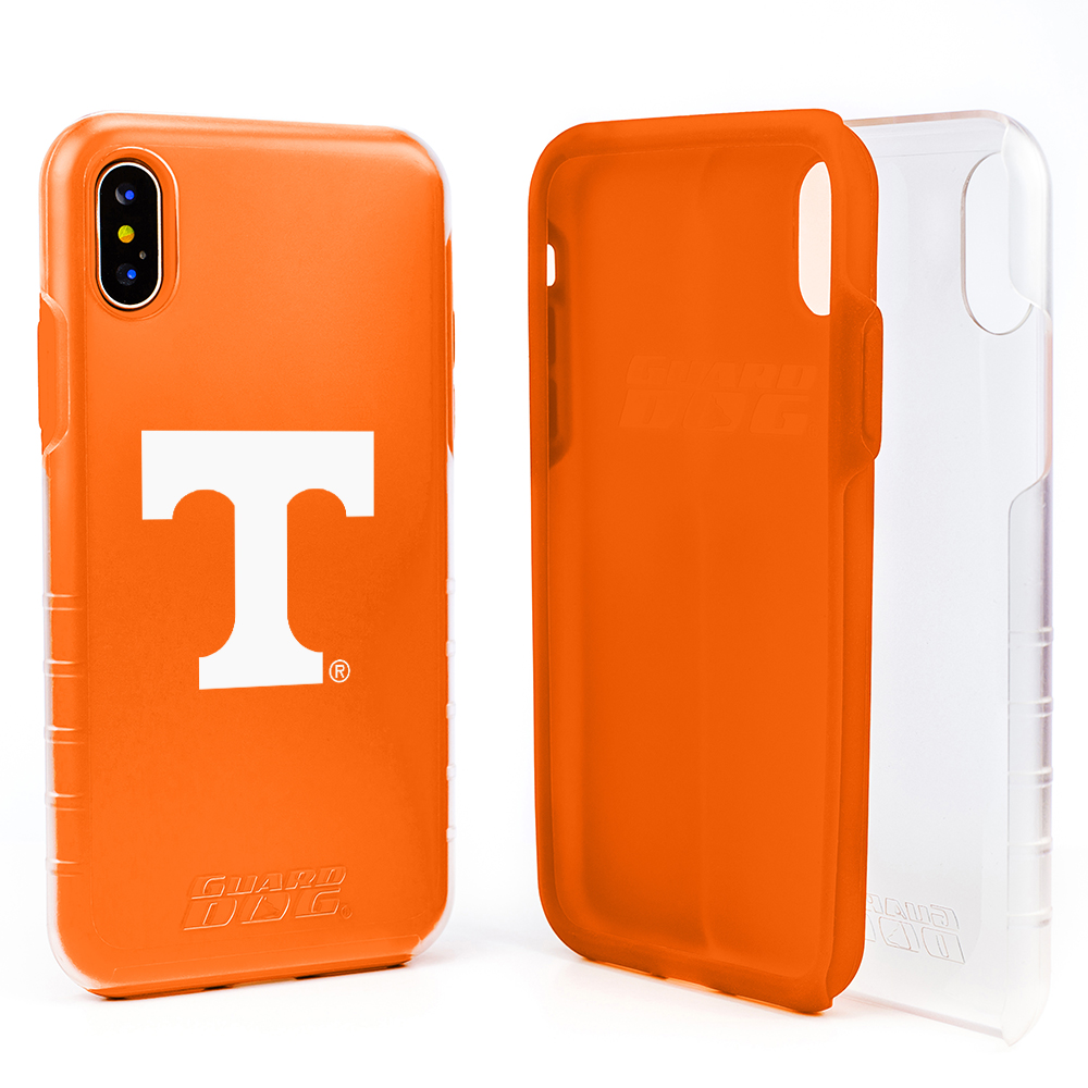 Tennessee Volunteers Clear Hybrid Case for iPhone X / Xs with Guard Glass Screen Protector - Clear with Orange