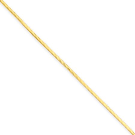 - 1mm, 14k Yellow Gold, Octagonal Snake Chain Necklace, 16 Inch