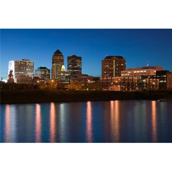 Panoramic Images PPI94056S Buildings At The Waterfront Des Moines River Des Moines Iowa USA Poster Print, 27 x 9