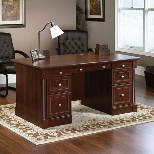 Sauder Palladia Executive Desk, Multiple Finishes