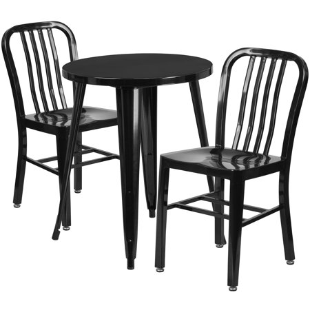 Lancaster Home 24'' Round Metal Indoor-Outdoor Table Set with 2 Vertical Slat Back Chairs ()