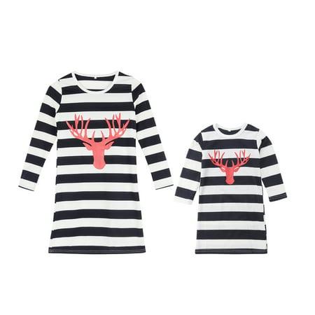 mommy and me christmas matching dresses striped long sleeve elk santa t shirt dress parent