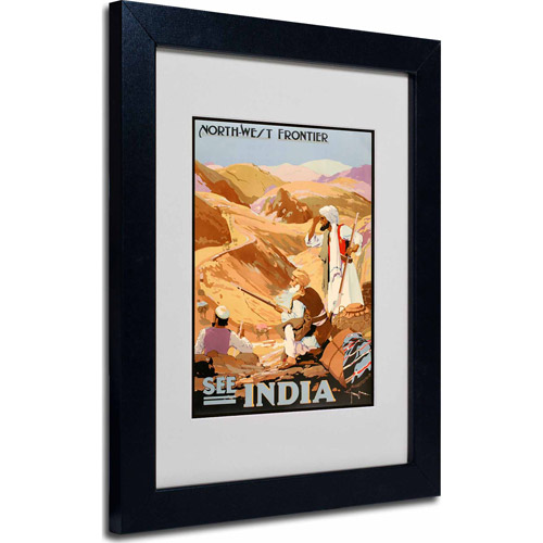 "Trademark Fine Art ""See India"" Matted Framed Art by Vintage Apple Collection, Black Frame"