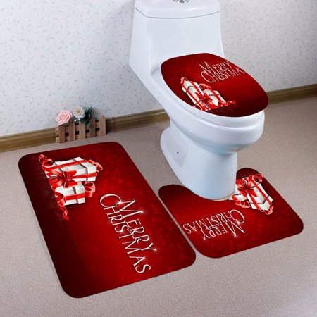 Hot Sale Merry Christmas Bathroom Non-Slip Toilet Pedestal Rug + Toilet Lid Cover + Bath Mat Set Christmas Bathroom Product Three-piece Xmas Home Festival Decoration (Christmas Carolers Decorations Sale)