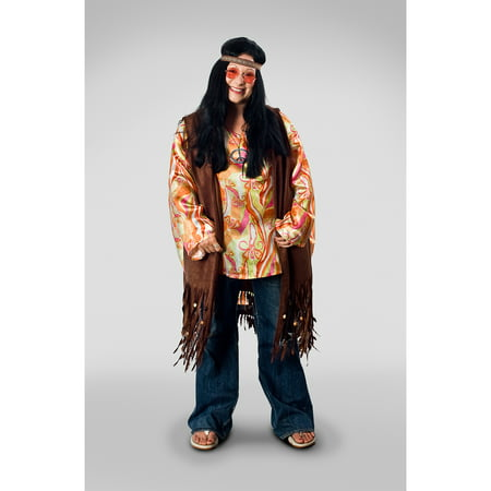 Lava Diva Hippie Vest Unisex Plus Size Adult Halloween Costume - Last Minute Hippie Halloween Costume