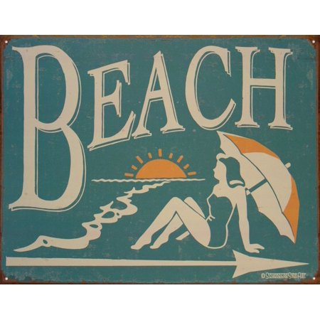 1950's Vintage Style Beach Metal Sign..., By Americana Ship from US - 1950's Style Halloween Costumes
