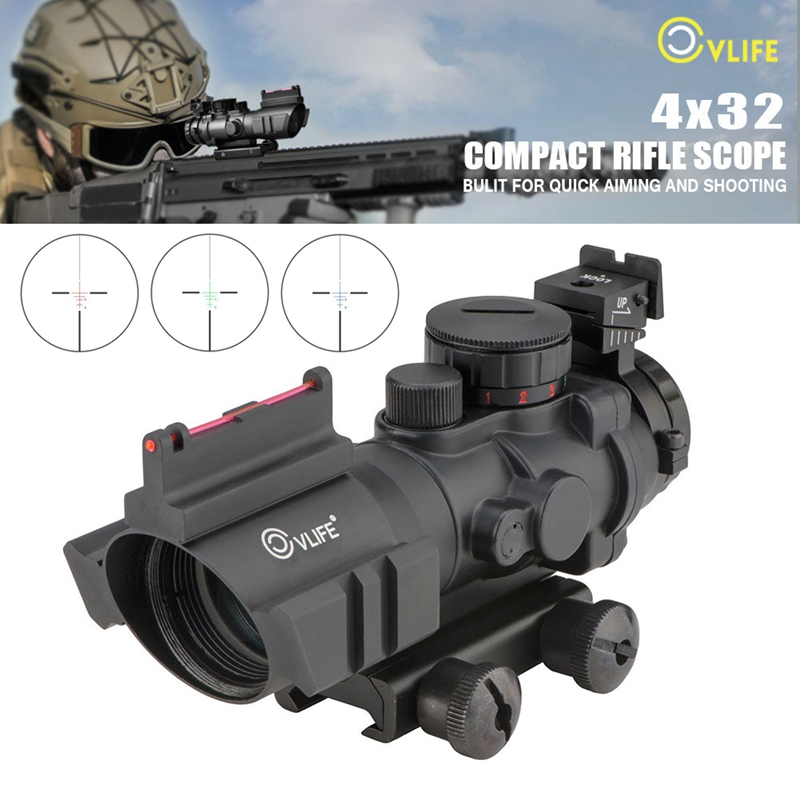 Cvlife 4X32 Tactical Rifle Scope Tri-illuminated Rapid Range + Fiber Optic Sight
