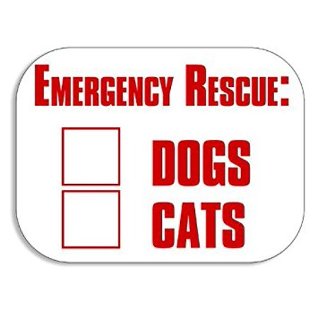 Emergency Rescue Decal (Emergency Rescue Dogs Cats Sticker Decal (fire safety window decal) 3 x 5 inch )