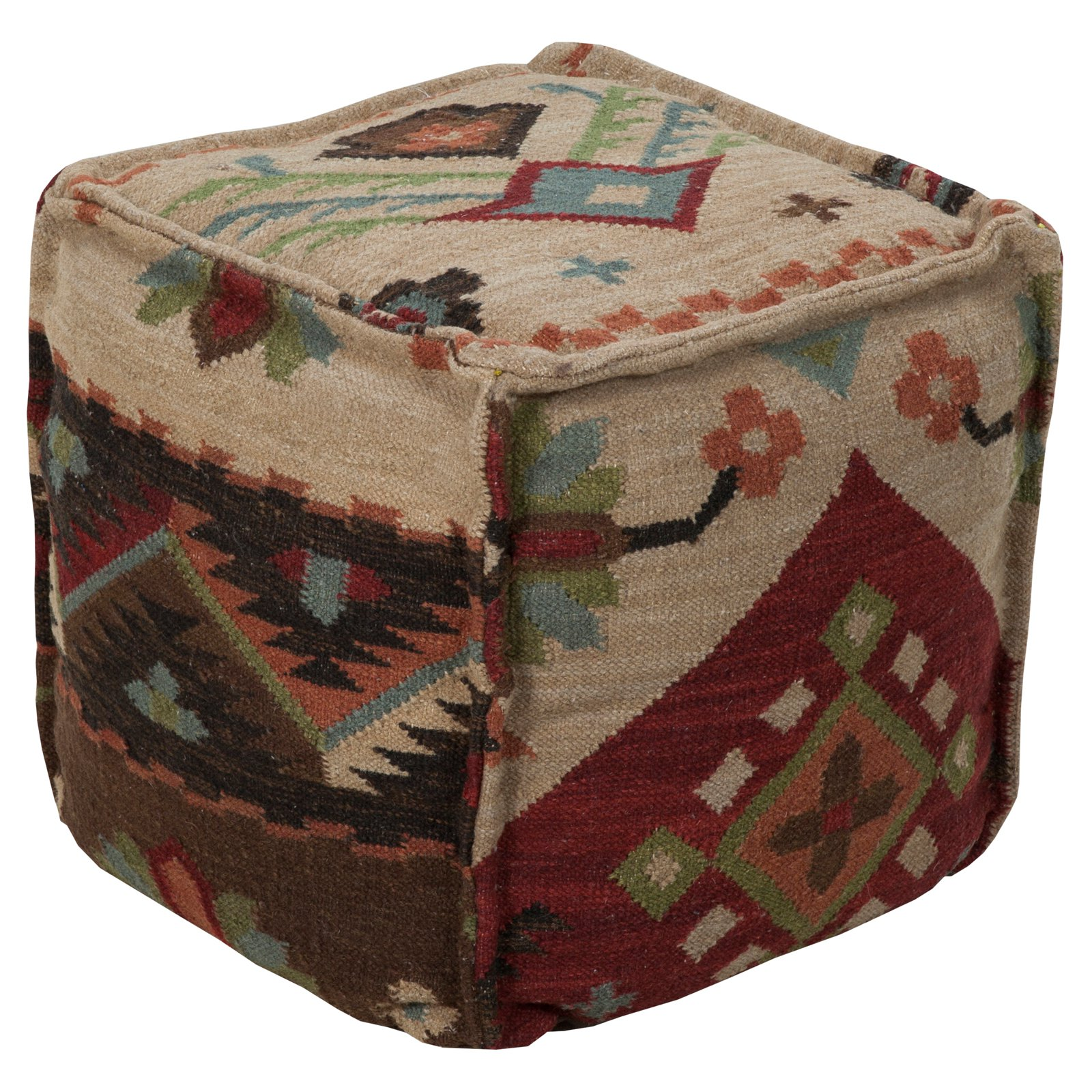 Surya 18 in. Southwest Cube Wool Pouf by Surya Rugs