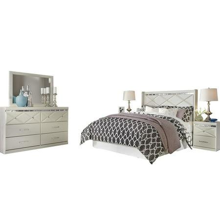 Ashley Furniture Dreamur 5 PC Bedroom Set: Queen Panel Headboard Dresser  Mirror 2 Nightstands Champagne - Walmart.com