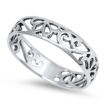 925 Silver Filigree Ring (Women's Cutout Filigree Design Cute Ring New 925 Sterling Silver Band Size 10)