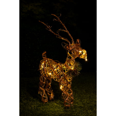 Alpine Rattan & Berries Reindeer w/ 10 LED Lights and Timer, 23 Inch Tall (Led Reindeer)