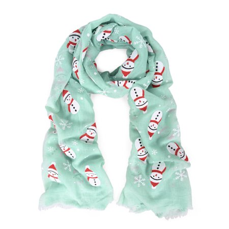 Holiday Christmas Snowman Snowflake Print Winter 3D Patterned Scarf Wrap